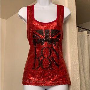 """Fancy """"London"""" Red Sequin Tank"""